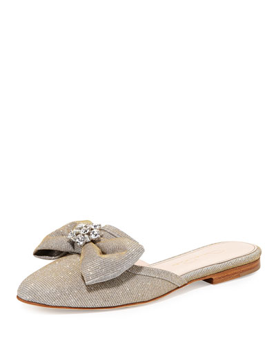 Patrizia Bow Slip-On Flat Mule, Gray