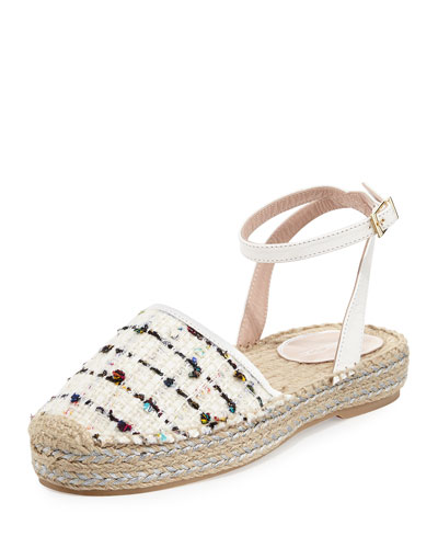 Tina Tweed Embellished Espadrille Sandal, White