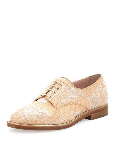 Tilda Raffia Embroidered Oxford, Beige