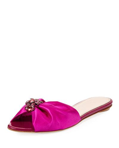 Mia Satin Flat Slide Sandal, Pink