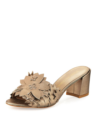 Leaflet Floral Mid-Heel Slide Sandal