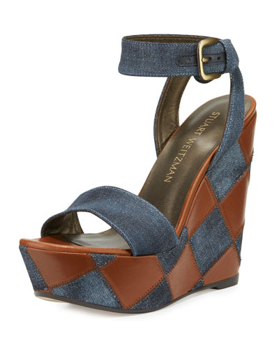 Letsdance Patchwork Wedge Sandal, Navy