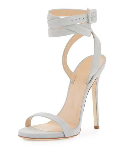 Alien Suede Ankle-Wrap 120mm Sandal, Gray