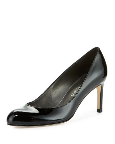 Moody Round-Toe Mid-Heel Patent Pump, Black