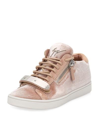 Brek Velvet Side-Zip Sneaker, Beige