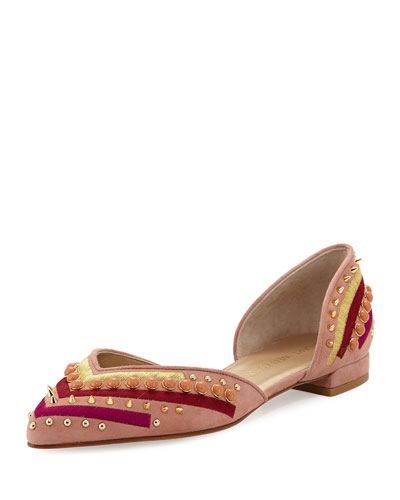 Sugardots Embellished Suede d'Orsay Flat, Naked