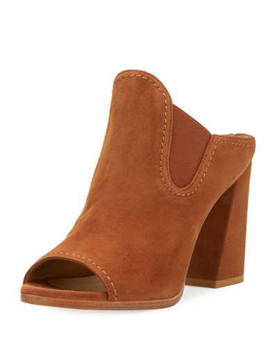 Slideup Suede Open-Toe Mule, Saddle