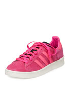 Campus Suede Lace-Up Sneaker, Coral