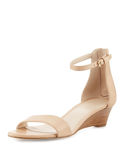 Adderly Grand Leather Low-Wedge Sandal, Neutral
