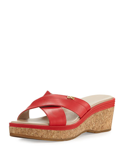 Briella Grand Cork Wedge Sandal, Red