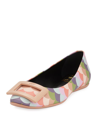Gommette Scallop-Print Ballerina Flat, Multi