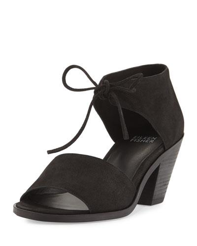 Ann Tie-Front Heeled Sandal, Black