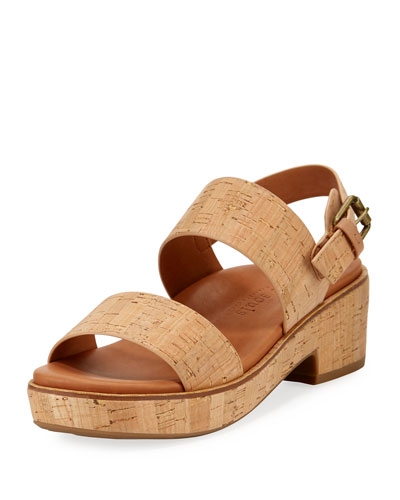 Talia Cork Flatform City Sandal, Neutral