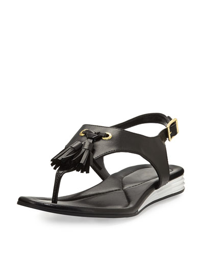 Rona Grand Tassel Thong Sandal, Black
