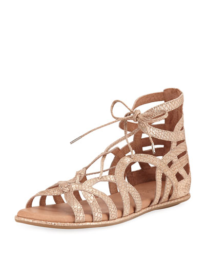 Break My Heart Flat Gladiator Sandal, Gold
