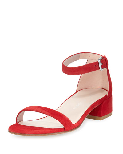 STUART WEITZMAN NUDIST JUNE SUEDE ANKLE-STRAP BLOCK HEEL SANDALS, RED SUEDE
