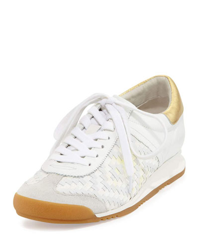 Scorpio Diamond Woven Leather Wedge Sneaker
