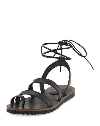 Wales Flat Lace-Up Leather Sandal, Black