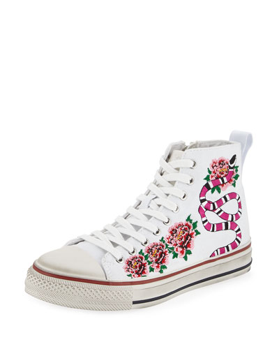 Vanina Embroidered High-Top Sneaker, White