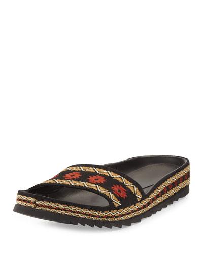 Uma Flat Slide Sandal, Black
