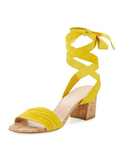 Swiftycork Suede Ankle-Wrap Sandal