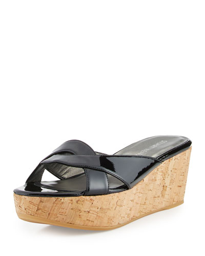 UnderIt Patent Wedge Sandal, Black