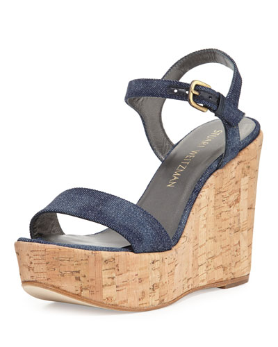 Single Denim Wedge Sandal, Navy