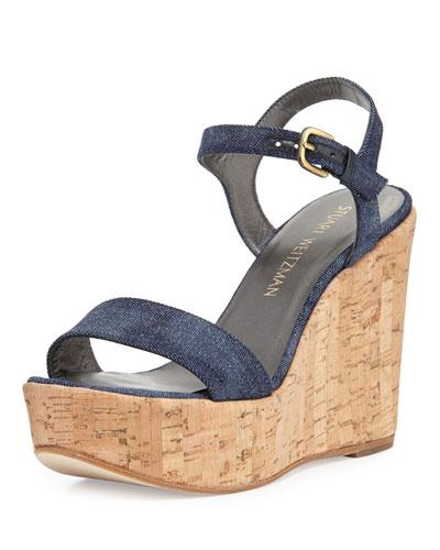 Single Denim Wedge Sandal, Navy