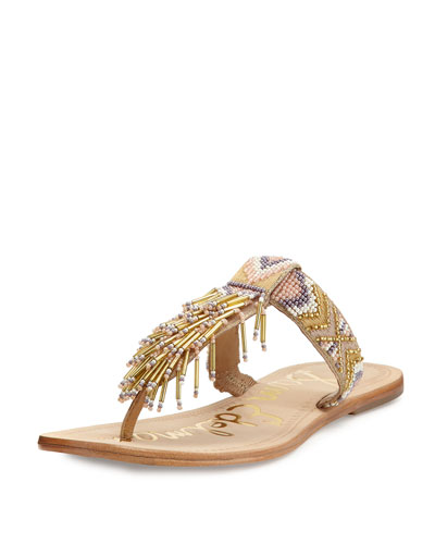Anella Leather Beaded Flat Thong Sandal, Natural