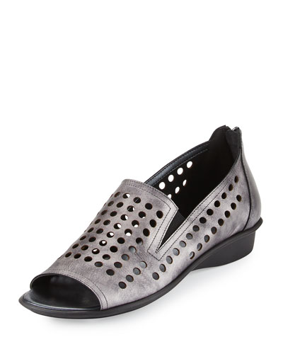Ellen Perforated Comfort Slip-On Flat, Gray