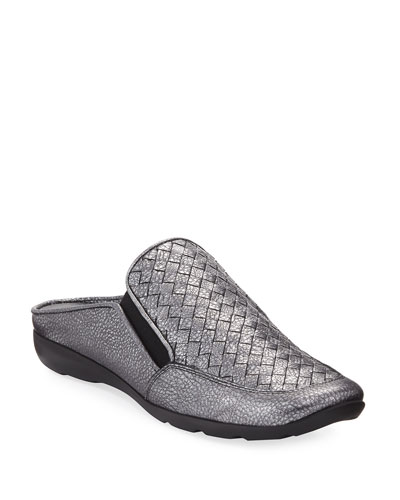 Giana Woven Leather Mule, Gray