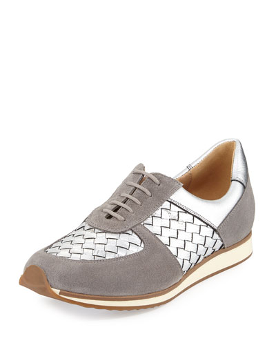 Casia Woven Leather Sneaker, Silver
