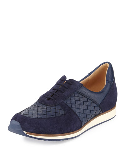 Casia Woven Leather Sneaker, Blue