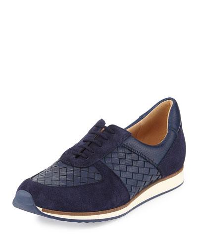 Casia Woven Leather Sneaker, Blue
