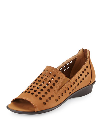Ellen Perforated Comfort Slip-On Flat, Beige