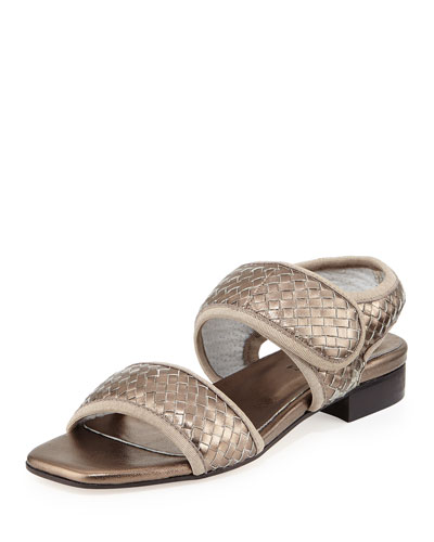 Gryta Woven Leather Flat Sandal, Pewter