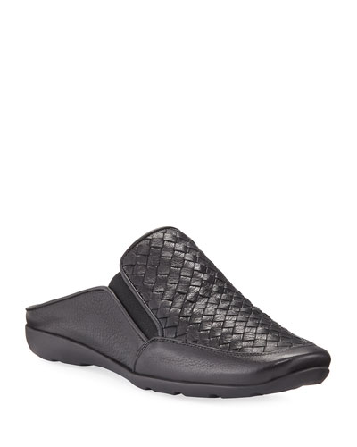 Giana Woven Leather Mule, Black