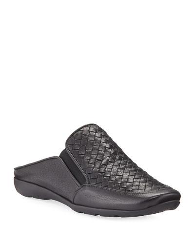 Giana Woven Leather Mule, Black