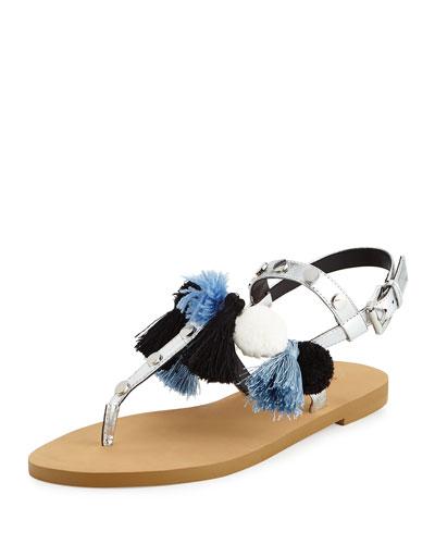 Estelle Pompom Tassel Flat Sandal