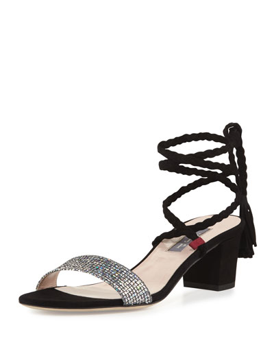 Elope Wrap & Tie Party Sandal, Silver/Black