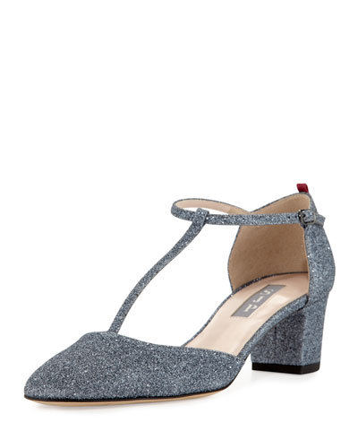 Pet Glitter T-Strap Mid-Heel Pump, Gray
