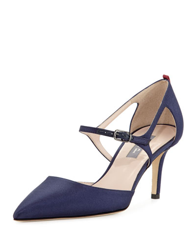 Phoebe Satin Buckle Pump, Navy