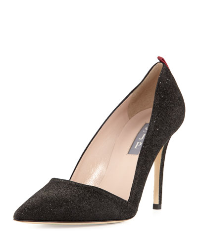 Rampling Glitter Pointed-Toe Pump, Black