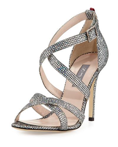 Strut Strappy Sparkle Sandal, Silver