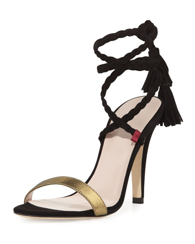 Trapeze Braided Suede 100mm Sandal, Black