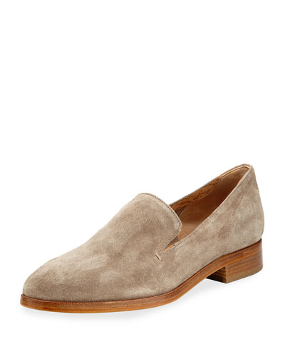 Calista Suede Slip-On Oxford, Cognac