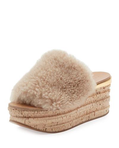 Camille Shearling Fur Platform Slide Sandal