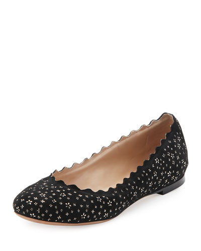 Lauren Leather Ballet Flats, Black