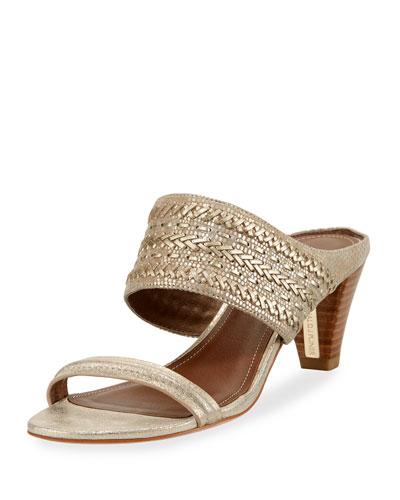 Viv Stitched Metallic Slide Sandal, Neutral