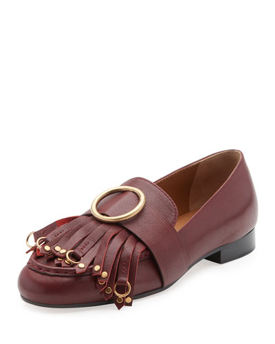 Olly Leather Kiltie Loafer, Sienna Red